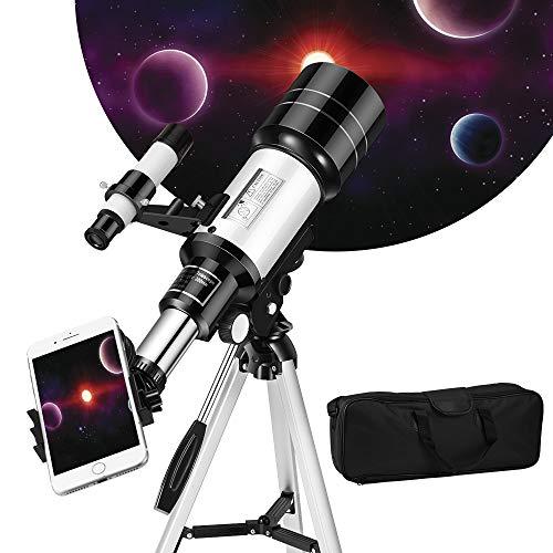 Kacsoo Telescopio Astronómico Portátil y Lente 70 mm Máximo múltiplo 150X con buscador de Estrellas Trípode Soporte para teléfono móvil y Mochila niños, niños, Adolescentes