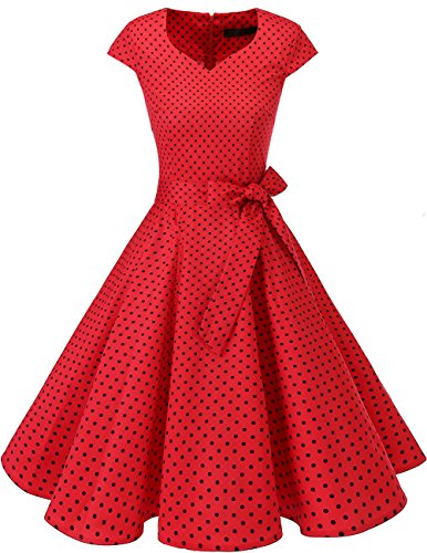 DRESSTELLS Retro 1950s Cocktail Dresses Vintage Swing Dress with Cap-Sleeves Red Small Black Dot L