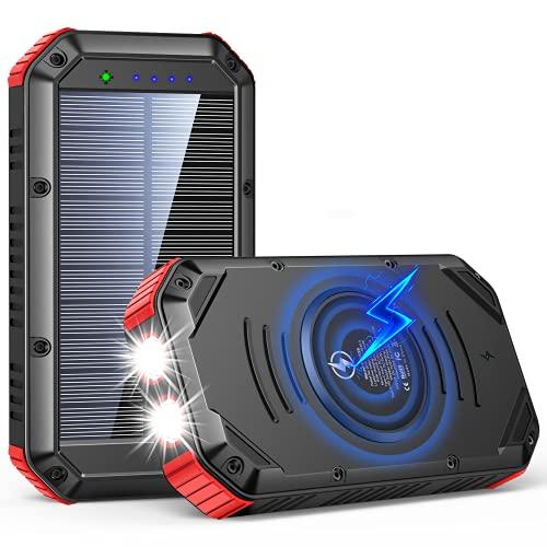 Wireless Solar Powerbank 30000mah Solar Ladegerät mit 5 Ports, Dual 1W LED Licht Externer, Tragbares Handy Power Bank für Smartphones, Tablets und mehr Outdoor Aktivitäten