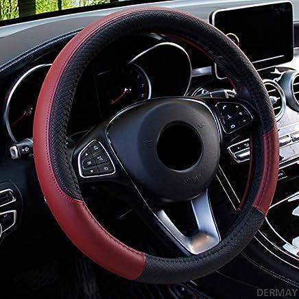 15 azul Cubierta de rueda antideslizante transpirable Accesorios interiores para Auto Furgoneta SUV Lifetooler Cubiertas de volante de coche Ice Silk Universal 38cm