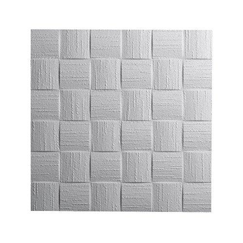 DECOSA Deckenplatten DUBLIN (AP 106) - 16 Platten = 4 m2 - Dekor Paneele weiß in Flecht Optik - Deckenpaneele aus Styropor - Styroporpaneele 50 x 50 cm