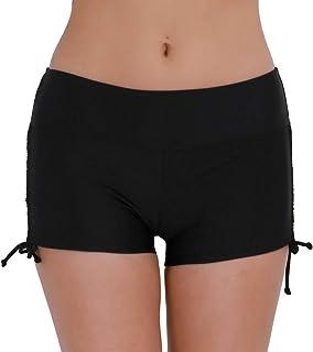 Mujer Short de Baño Natación Deporte Bikini Bottoms Bañador Traje de Baño Pantalones Cortos de Protección UV Cordones Ajustables