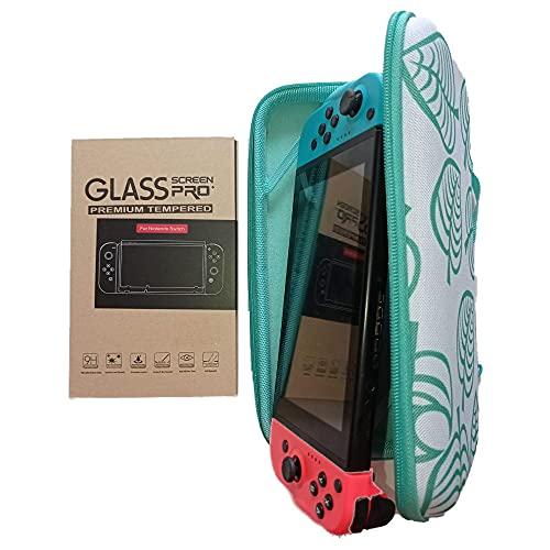 Coque Housse de Protection pour Console Nintendo Switch aux Couleur d'animal Crossing et 2 vitres en Verre trempé. Pochette pour Ranger, 10 Cartouches de Jeux, Accessoires, Console et Manette.