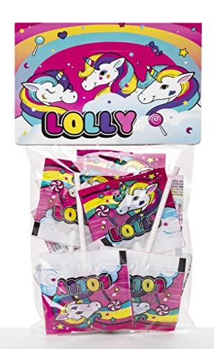Bolsita de Piruletas Unicornio La Asturiana - Pequeño bolsa con 10 piruletas (60gr), con envoltorio con imágenes de unicornio, ideal para fiestas infantiles, sin gluten