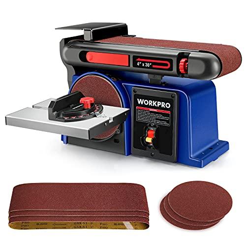 WORKPRO Belt Disc Sander, 4 in. x 36 in. Belt & 6 in. Disc Sander with 6pcs Sandpapers, Cast Iron Base for Sanding Woodworking, Metal, DIY Decoration