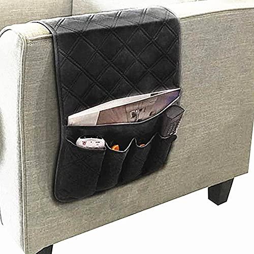 Organizador impermeable para reposabrazos de sofá, con 5 bolsillos, bolsa de almacenamiento para teléfono, libro, revistas, control remoto de TV (negro)