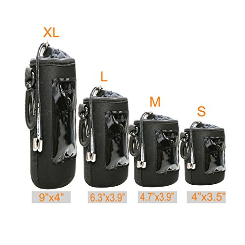 Foto&Tech 4 PCS 5mm Extra Thick Waterproof Rain Cover Neoprene Lens and Flannel Collar Lens Bag with Adjustable Drawstring & Swivel Clip Compatible with Canon Nikon Sony Olympus Cameras (S, M, L, XL)