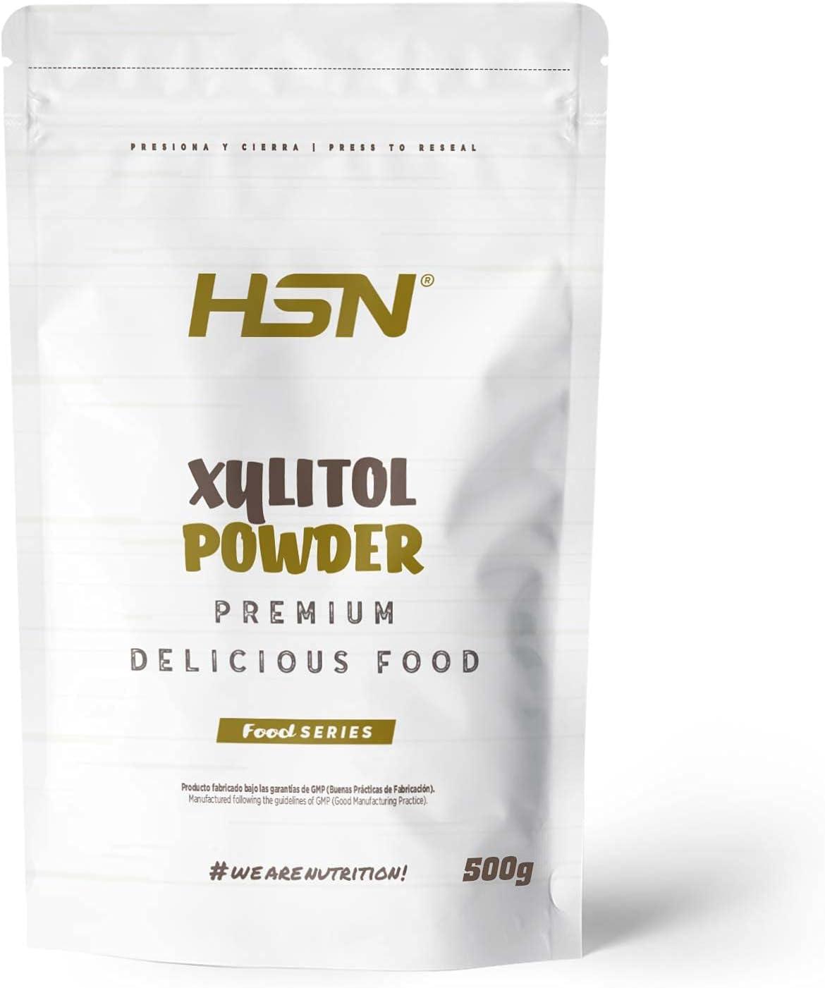 Xilitol de HSN | Sustituto del Azúcar | Edulcorante en Polvo Sin Calorías | Endulzante Sin Azúcar | Ideal para Recetas Fitness | No-GMO, Vegano, Sin Gluten, Sin Lactosa | 500 gr