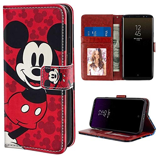 DISNEY COLLECTION Wallet Case for Samsung Galaxy Note 8 Mickey Mouse Cartoon Red with Kickstand Card Holder and Wrist Strap Folio Flip Wallet Case