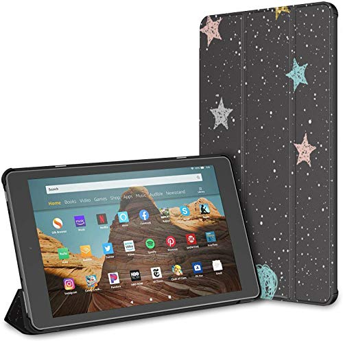Case Cover Compatible with 10.1' Amazon Fire HD 10 Tablet (9th / 7th Generation, 2019/2017 Release),Doodle Cat Moon Stars Abstract Childish