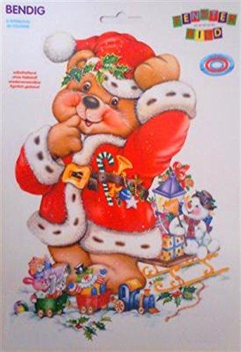 Fensterbild - Strahlendes Weihnachtsbärchen 23 x 33 cm
