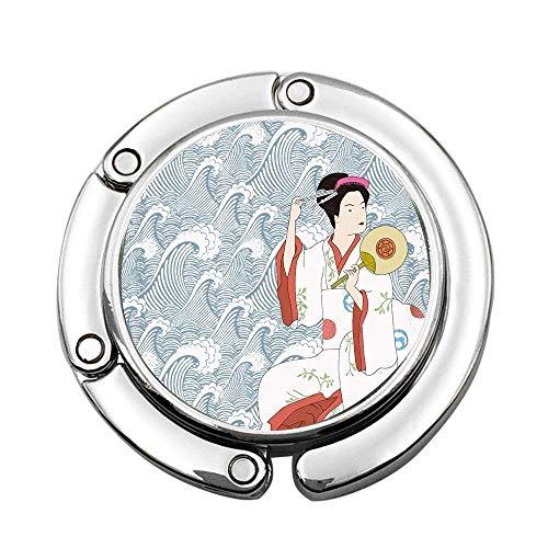 Chica Japonesa en Kimono Tradicional, Colgante de Bolso portátil Personalizado, Bolso de Barra para Mesa, Gancho Superior Giratorio ins