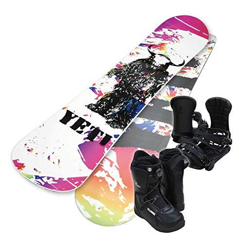 【予約限定・ボードケース・パスケース付き】スノーボード 3点セット 板 メンズ レディース 男女兼用 YELLOWBUS YETI イエティ カラー ブーツ ビンディング キャンバー 光沢 (149, ブーツ(25cm)/バイン(SM)/取付レギュラー(左