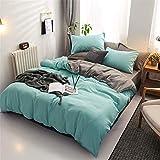 Chanyuan Ropa de cama reversible de microfibra, 220 x 240 cm, color verde claro, gris, antracita, juego de cama de...