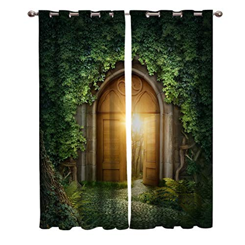NTBDWOSQ Blackout Curtains For Girls Bedroom 150X166 Cm (Wxh) 3D Magic Forest Gate Plant Super Soft Thermal Insulated Ring Top Curtains 2 Panels, Eyelet Curtains For Living Room Nursery