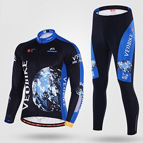 VEOBIKE Discovery Autunno e Estate Thinnest Cycling Racing Wear Lungo Abito a Maniche Lunghe Giacca con Imbottitura in Gel Pantaloni Lunghi Pantaloni Set (XXXL)