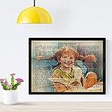 Nacnic Poster Pippi Langstrumpf. Vintage Stil Poster von