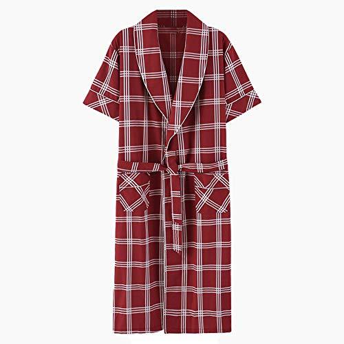 Shortsleeved Bademantel Pyjamas Sommer-Dünne Männer Frühling Und Herbst Sexy Cotton Nightgown Male Red Weiche Morgenmantel Dusche Kleidung Nachthemden,XXXXL