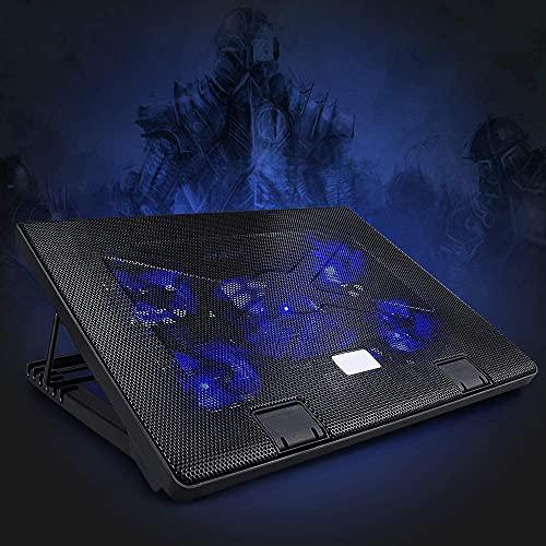 yidenguk Laptop Kühler notebook kühler mit 5 leisen Lüftern, einstellbarer Geschwindigkeit Gaming Laptop Ständer, 2 USB-Anschlüsse, Notebook-Kühlständer mit roter LED-Leuchte für Spiele, Büro