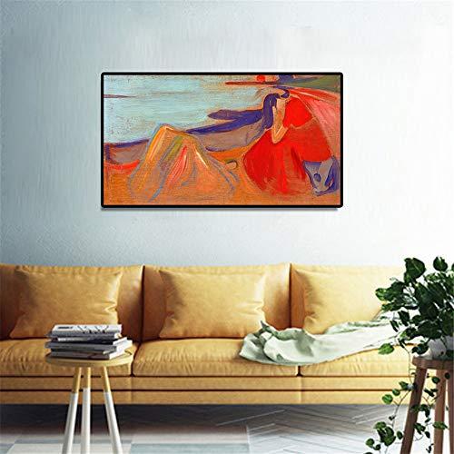 Danjiao Edvard Munch - Melancholisches Klassisches Abstraktes Ölgemälde Auf Leinwand-Kunst-Plakaten Und Druck-Wand-Bild Für Wohnzimmer-Inneneinrichtungen Wohnzimmer 40x60cm