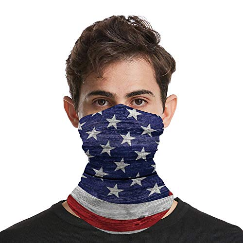 Men Women Scarf Shield Bandana Balaclava Neck Gaiters for Dust Rustic American USA Flag July Independence Day Commonwealth Country Emblem Patriotism Wooden Plank Looking_Wbsdfken-190426148