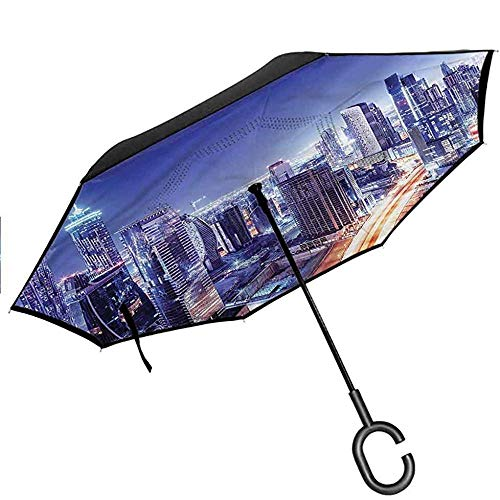 Mike-Shop Reverse Umbrella, Straight Umbrella - Nueva York - América City Skyline Nocturno