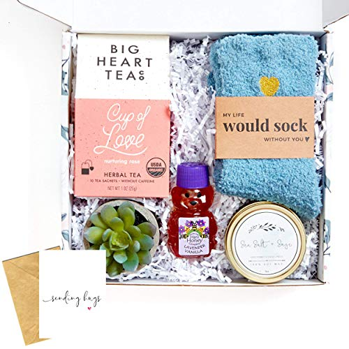 UnboxMe Care Package For Women   Mother's Day Gift Box, Get Well Soon Gift   Stress Relief Gift Self Care Encouragement Gift Nurse Gift Bff Gift, Cancer Gift, Happy Birthday Gift (Sending Hugs Card)