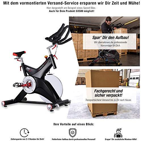 Sportstech Indoor Speedbike SX500 inkl. VORMONTAGE | Deutsche Qualitätsmarke + Video Events & Multiplayer APP | 25kg Schwungrad & leiser Riemenantrieb | Pulsgurt kompatibel + SPD Klickpedale |