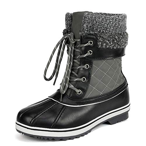 DREAM PAIRS Women's Monte_01 Grey Mid Calf Winter Snow Boots Size 11 M US
