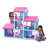 American Plastic Toys Fashion Doll Three-Story Delightful Dollhouse, Pink, 25 Play Furniture Pieces and Accessories, 3 Open-Air Flexible Floor Plans, Encourages Imagination and Interior Design Skills