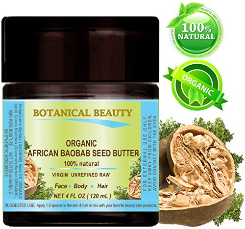 ORGANIC AFRICAN BAOBAB SEED BUTTER. 100% Natural / 100% PURE BOTANICAL. VIRGIN/UNREFINED BLEND. 4 fl oz- 120 ml. for Skin, Hair, Lip and Nail Care. by Botanical Beauty.