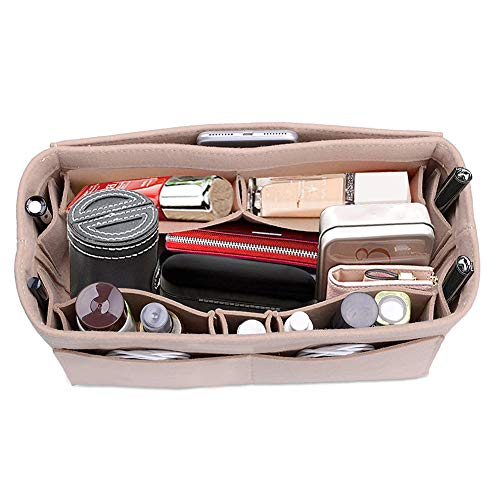 Lmeison Purse Organizer for Women, Tote Bag Organizer Insert for Neverfull mm Speedy 25/30 13 Pocket Felt Bag Organizer fits Longchamps Tote Bag,...