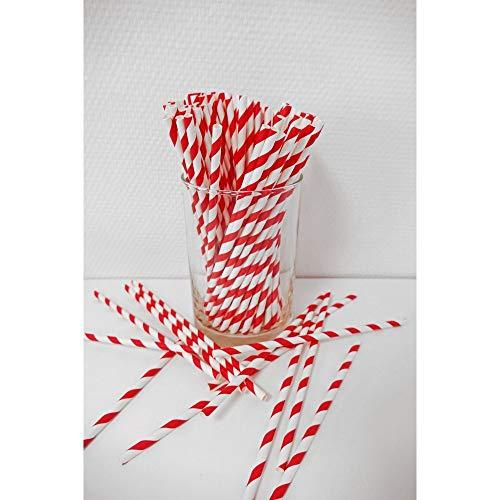 Papierstrohhalme Retro 100 Stück rot/weiß-gestreift, Party, Hochzeit, Cake-Pops-Stick, Geburtstag