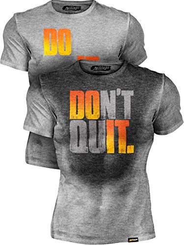 Actizio Sweat Activated Funny Motivational Workout Shirt, Do It - Don't Quit (Athletic Heather, M)