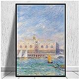 SDGW Pierre-Auguste Renoir (1841-1919) Vista De Venecia Impresiones En Lienzo del Palacio Ducal Hotel Bar Cafe Decoración para El Hogar-50X75Cm Sin Marco