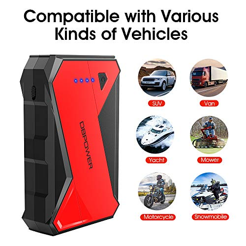 DBPOWER 1000A Portable Car Jump Starter (up to 7.0L Petrol, 5.5L Diesel Engine) Battery Booster and Phone Charger with LED Flashlight
