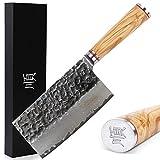 YOUSUNLONG Damaskus 7 Zoll Black Blade Home chinesisches Kochmesser Gemüsespalter mit...