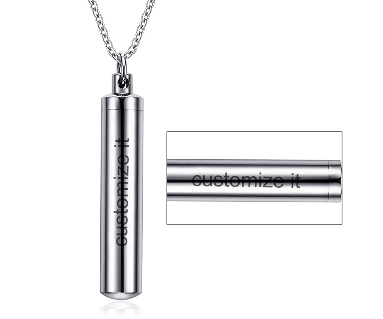 Mealguet Jewelry Free-Engraving Personalized Stainless Steel Cylinder Remembrance Memorial Ash Cremation Urn Pendant Necklace