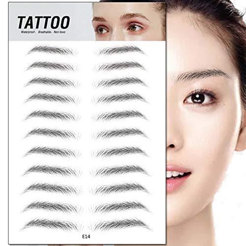Augenbrauen Schablonen, Eebrows Aufkleber Augenbrauen Pflege Vorlage Aufkleber, Semi Permanent 4D Effekt Tattoo Augenbrauen Aufkleber Falsche Augenbrauen für Frauen