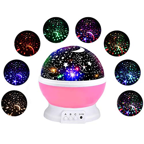 Girls Star Night Light Projector, Starry Moon Rotating Projection Nightlight Star Sky Lamp for Child Xmax Birthday Gifts for Little Girls Boys Toys for 3-12 Year Old Kids Pink Present