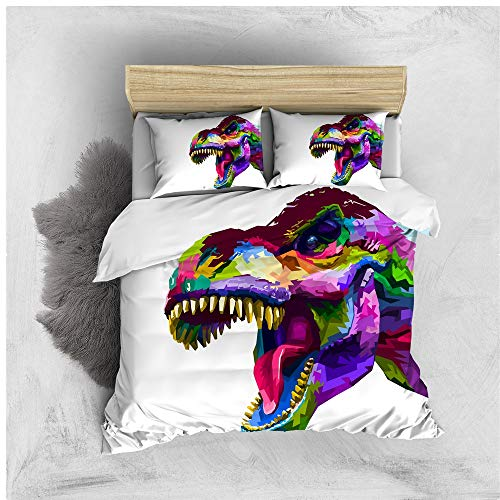 Stillshine. Boy And Girl 2/3 Bedding Colorful Dinosaur Duvet Cover 3D Animal Dinosaur Duvet Cover With Zipper + Pillowcase 50x75 cm (Colorful4,220x240 cm)