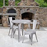 Flash Furniture Commercial Grade 30' Round Silver Metal Indoor-Outdoor Table Set with 2 Cafe Chairs