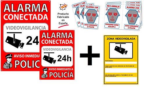 tualarmasincuotas.es Pack o Conjunto, para Interior y/o Exterior, de Carteles disuasorios + Zona Videovigilada + 6 Pegatinas de Seguridad