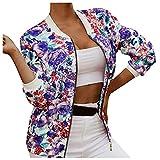 Womens Stand Collar Short Coat Zip Up Tops Lightweight Casual Long Sleeve Jacket Outwear