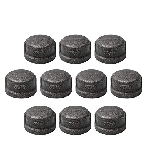 """3/4"""" Pipe Fitting Cap, Home TZH 10 Pack Gray Malleable Iron Cast 3/4"""" Pipe Caps for Steam-punk Vintage Shelf Bracket DIY Plumbing Pipe Decor Furniture(10, 3/4"""")"""