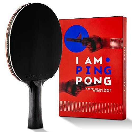 I AM PING PONG Five Star Ping Pong-Schläger Set Professionelle Tischtennis-Schläger-Schläger Paddle Serie ITTF genehmigter Gummi Carbon Technology reduziert Stoß-und Schwingungs Ledertasche inklusive