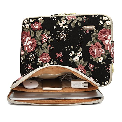 KAYOND Black Chinese Rose Pattern Water-resistant 14 inch Canvas laptop sleeve with pocket for 14.1 inch laptop case Macbook Pro 15.4 A1707 (14-14.1 Inch, Black C Rose)
