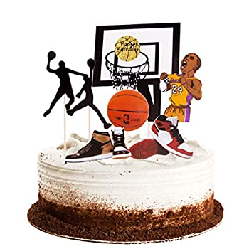 Winrase Basketball Scene Theme Cake Toppers Set Boy Birthday Party Cupcake Toppers Father Birthday Man Birthday Cake Topper Party Decorations Supplies