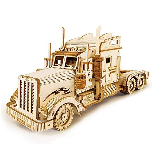 Puzzle 3D Madera, Camion Pesado Rompecabezas 3D Construye en tu Propio Juego, DIY Modelos de Corte láser de Madera Adultos Construcción Kit de Manualidades (Heavy Truck)