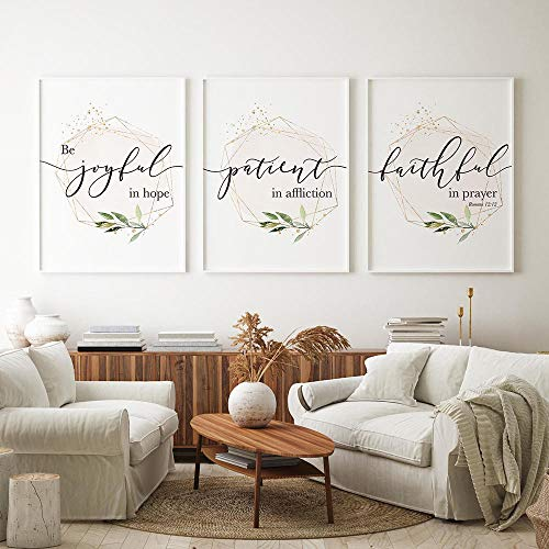 WTYBGDAN Bibel Vers Typografie Christliche Wandkunst Leinwand Malerei Geometrische Gold Pink Poster und Drucke Bilder Wohnzimmer Wohnkultur | 50x70cmx3Pcs - ohne Rahmen